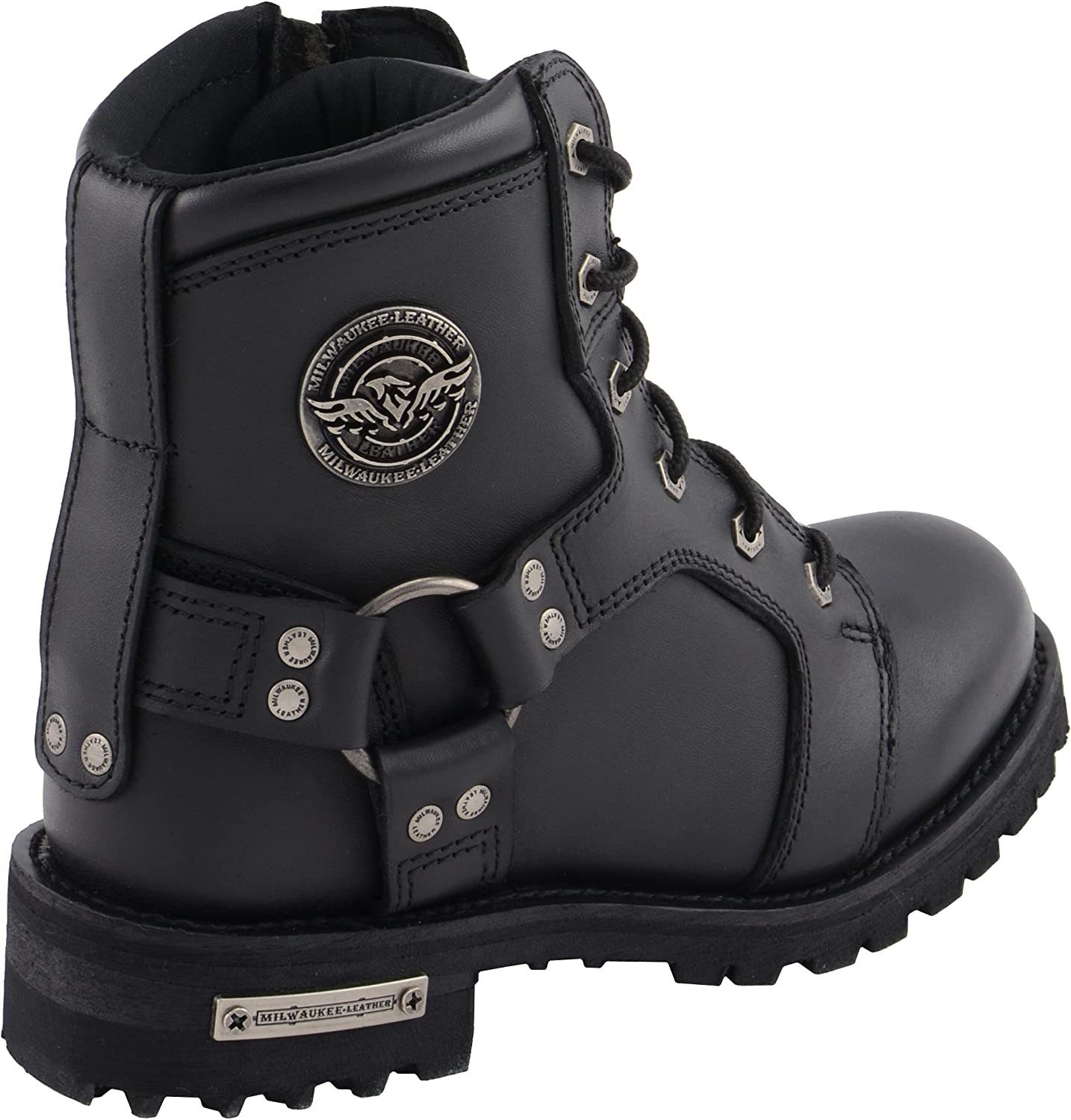 10 Milwaukee Leather MBL9302-BLACK-10 Womens Lace to Toe Harness Boot Black