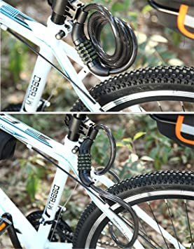 well-wreapped T-TOPER 6.6-Feetx 1/2 Inch Self Coiling Resettable 5-digit Combination Bike Cable Locks with Complimentary Mounting Bracket