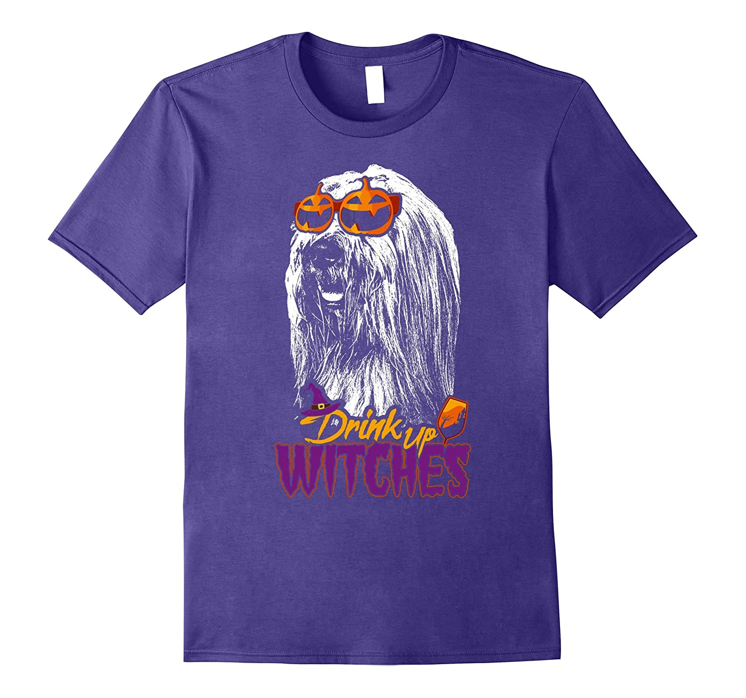 Bearded Collie Drink Up Witches Funny Halloween Shirt-T-Shirt