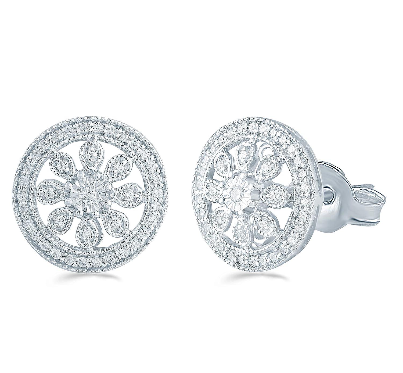 3//10 Cttw Diamond Cluster Earring Set In Sterling Silver