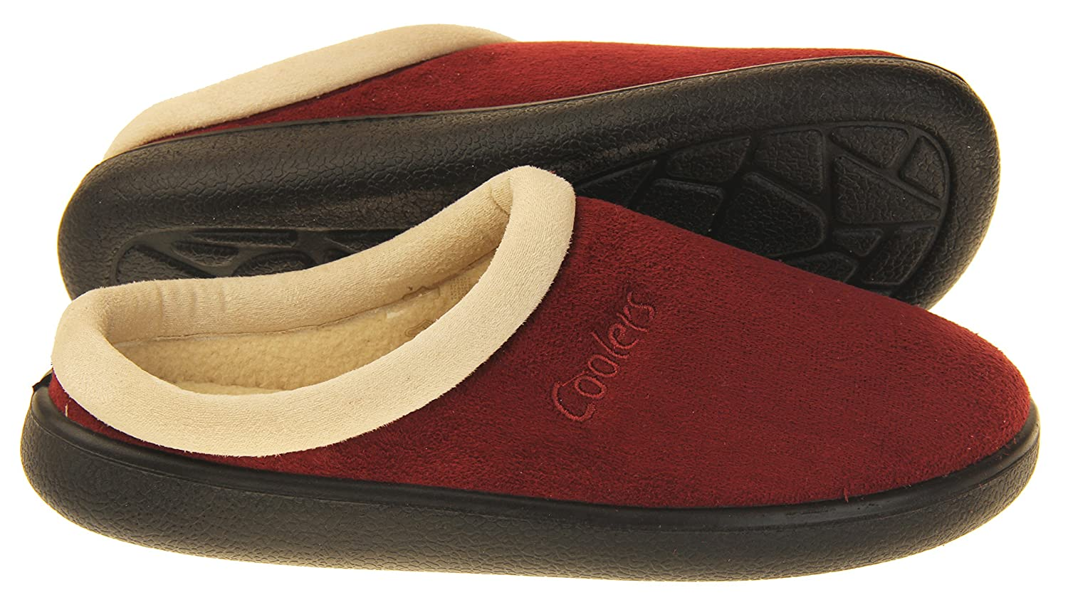 M Coolers Womens Burgundy Suede Effect Outdoor Sole Mules Slippers 6 B US