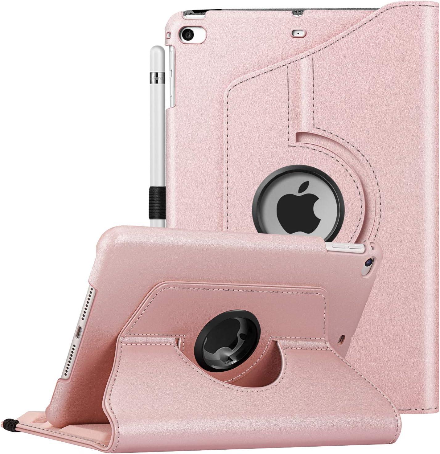 "Fintie Rotating Case for iPad Mini 5 2019 / iPad Mini 4-360 Degree Rotating Smart Stand Protective Back Cover, Auto Sleep/Wake Feature for 7.9"" iPad Mini 5th Generation, Rose Gold"