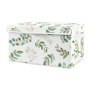 Sweet Jojo Designs Floral Leaf Girl Small Fabric Toy Bin Storage Box Chest for Baby Nursery or Kids Room - Green and White Boho Watercolor Botanical Woodland Tropical Garden