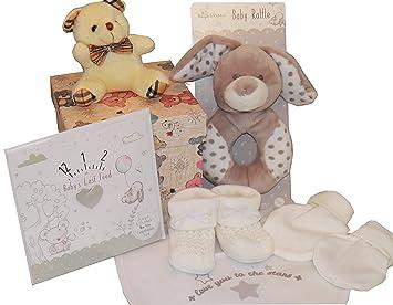 Unisex Baby Hamper 5 Piece Gift Set Baby Shower Maternity Leave Birth Newborn Present Includes Congratulations Biirth Cardfeedtime Card Reminder