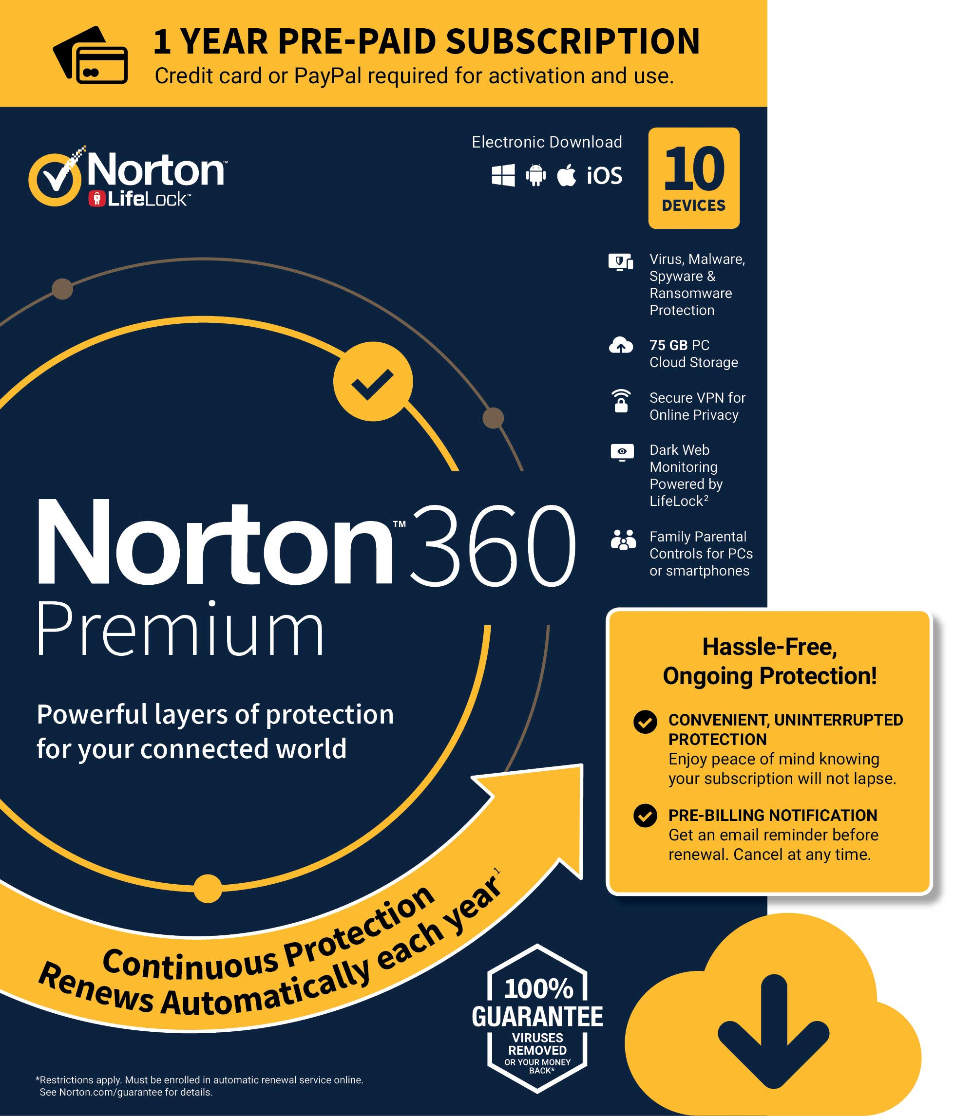 NEW Norton 360 Premium - Antivirus software for 10 Devices with Auto Renewal - Includes VPN, PC Cloud Backup & Dark Web Monitoring powered by LifeLock [PC/Mac/Mobile Download] by Symantec