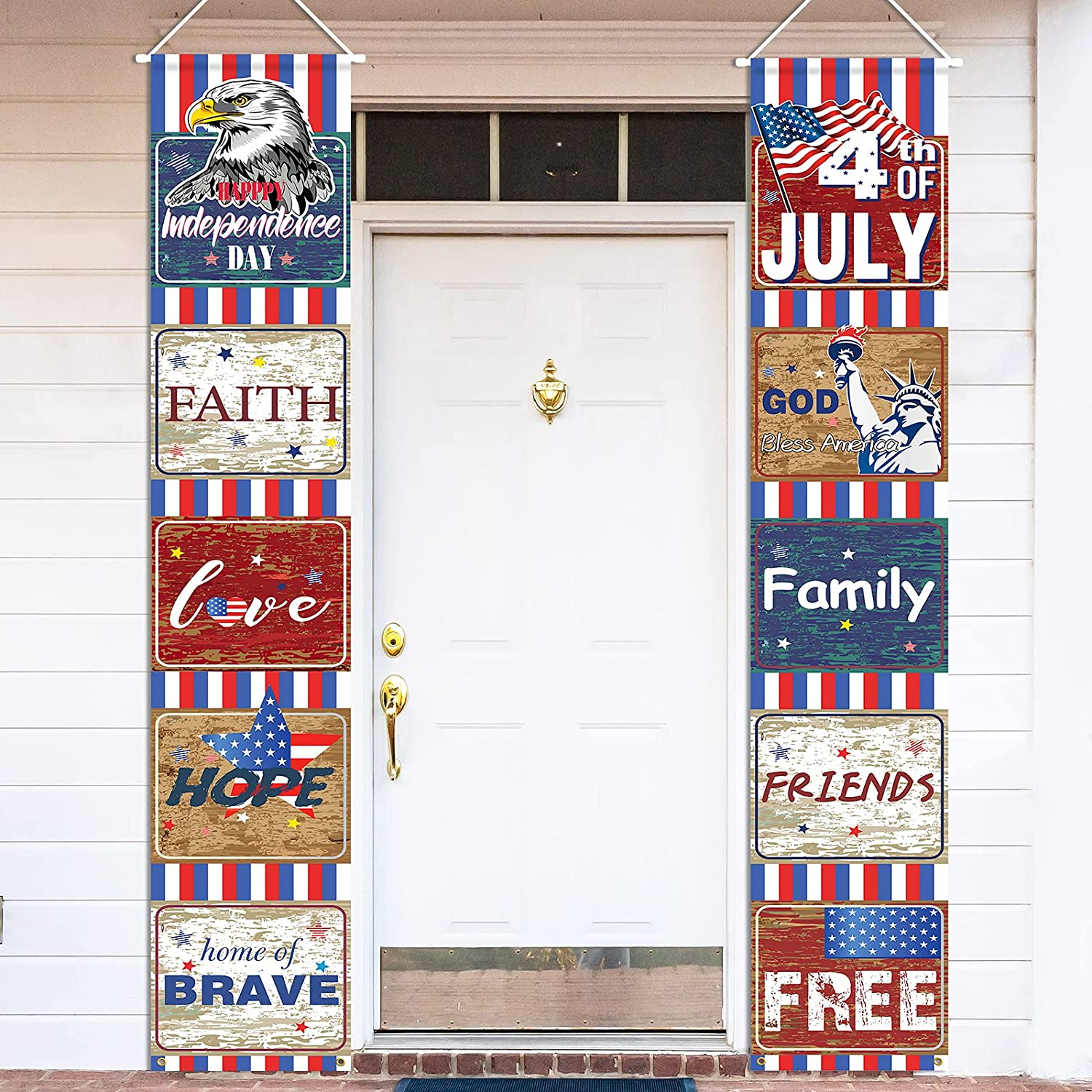 Fourth of July Decoration Patriotic Welcome Banner, 4th of July Banner for Independence Day/ Patriotic Party/ Veterans Day/ Memorial Day Decoration, Porch Banner for Indoor/ Outdoor/ Home/ Wall Decor