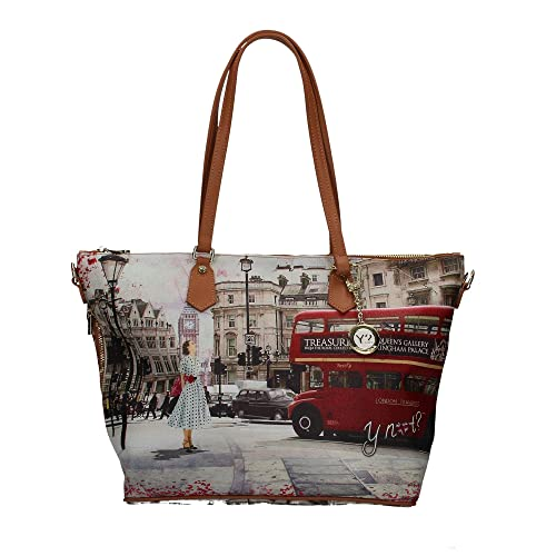 Borsa Y Not Londra Bus Rid J-397 Shopping grande  Amazon.it  Scarpe e borse 7fd3268be7e