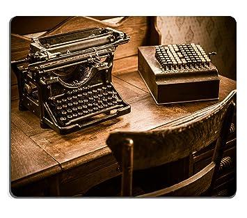 liili Mouse Pad alfombrillas de goma natural Vintage Accountant Escritorio con Vintage máquina de escribir y