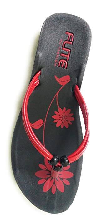 e2f0ff6b86d RELAXO FLITE WOMEN S RED BLACK PU SLIPPERS (PUL 33) (7UK) FLIP FLOPS ...