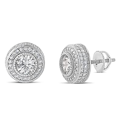 7ab99161f64d8 Amazon.com: Mens Ladies 14K Gold Over Silver Lab Diamond Earrings ...