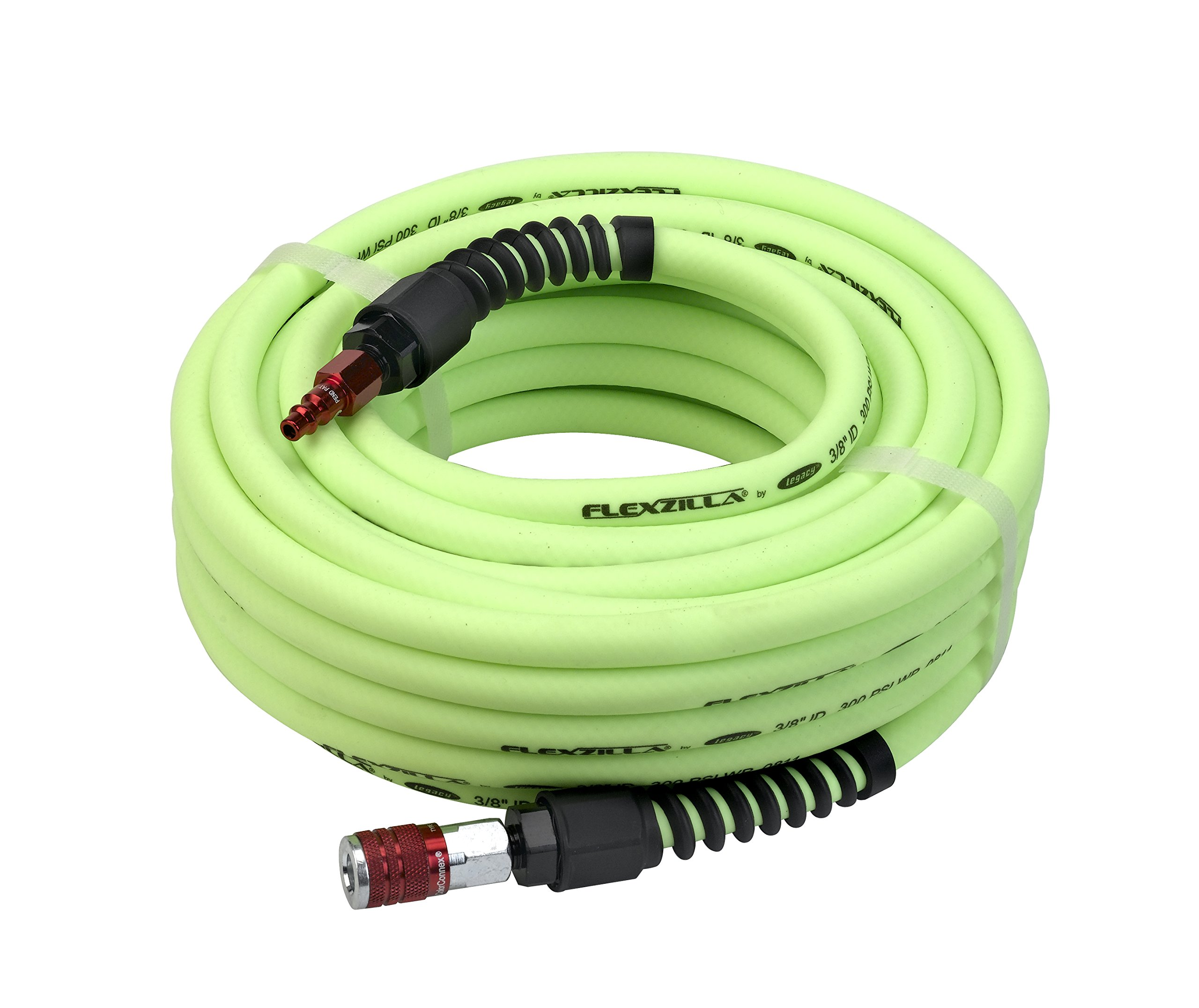 Flexzilla Pro Air Hose with ColorConnex Industrial Type D Coupler and Plug, 3/8 in. x 50 ft, Heavy Duty, Lightweight, Hybrid, ZillaGreen - HFZP3850YW2-D