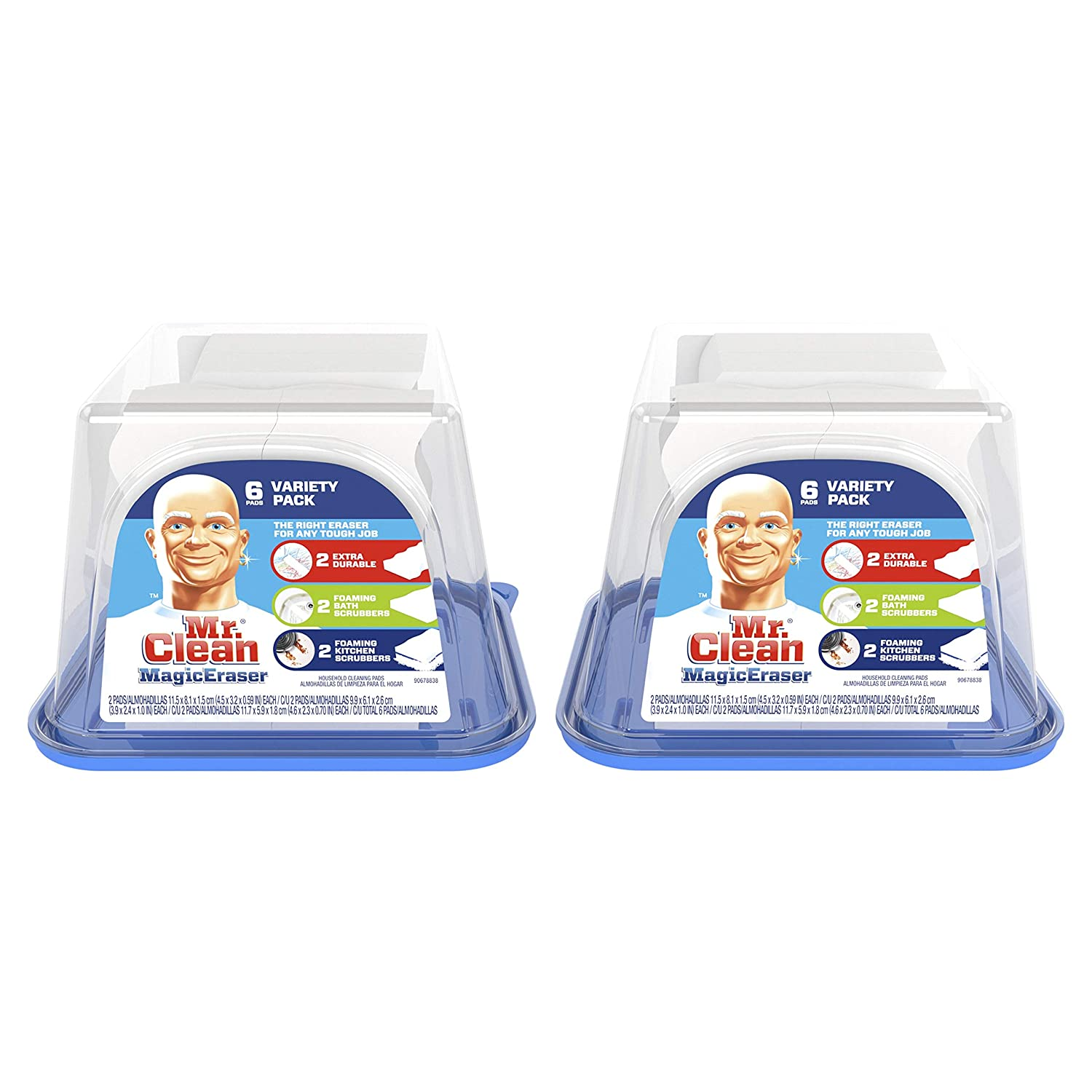 Mr. Clean Magic Eraser Variety Pack, Cleaning Pads with Durafoam, 6ct Twinpack