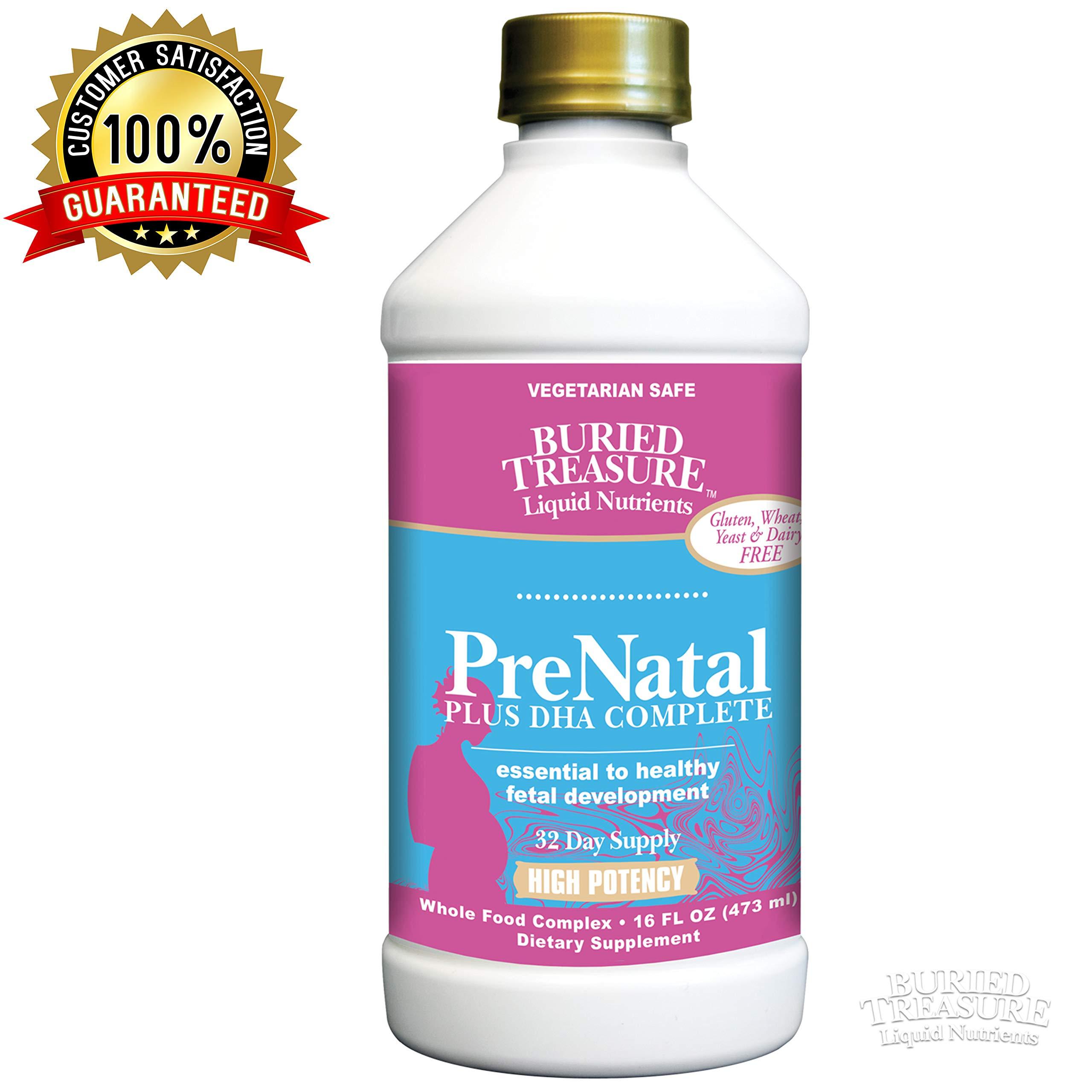 Buried Treasure Prenatal Plus DHA Complete High Potency Liquid Supplement - Non-GMO, Plant Based, High Quality, Vegetarian Safe - 16 oz