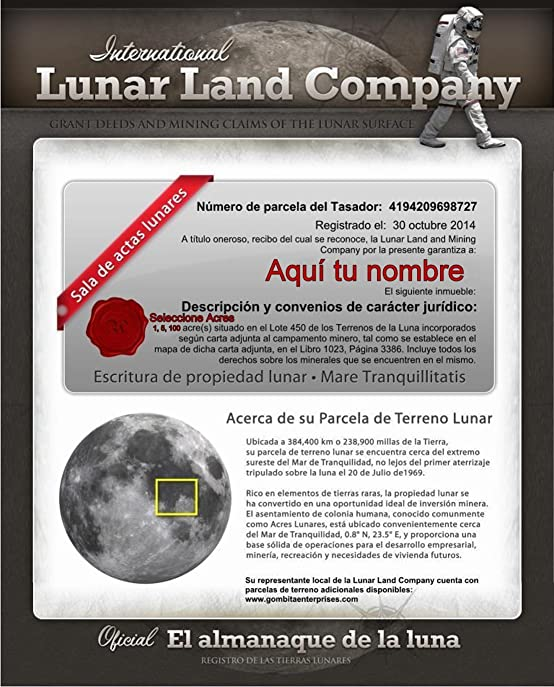 Amazon lunar land certificate 15 or 100 acres english or amazon lunar land certificate 15 or 100 acres english or spanish customize when ordering buy land on the moon one acre english fandeluxe Images