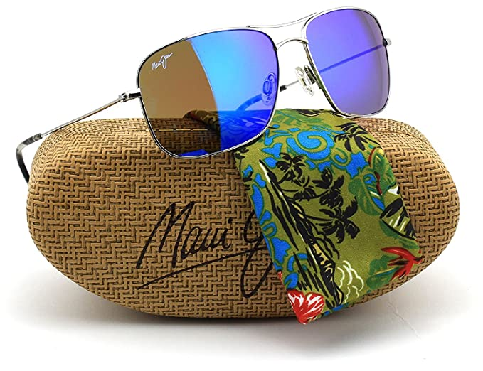 d6a92627255 Image Unavailable. Image not available for. Colour  Maui Jim B246-17 Wiki  Wiki Polarized Sunglasses Silver Titanium ...