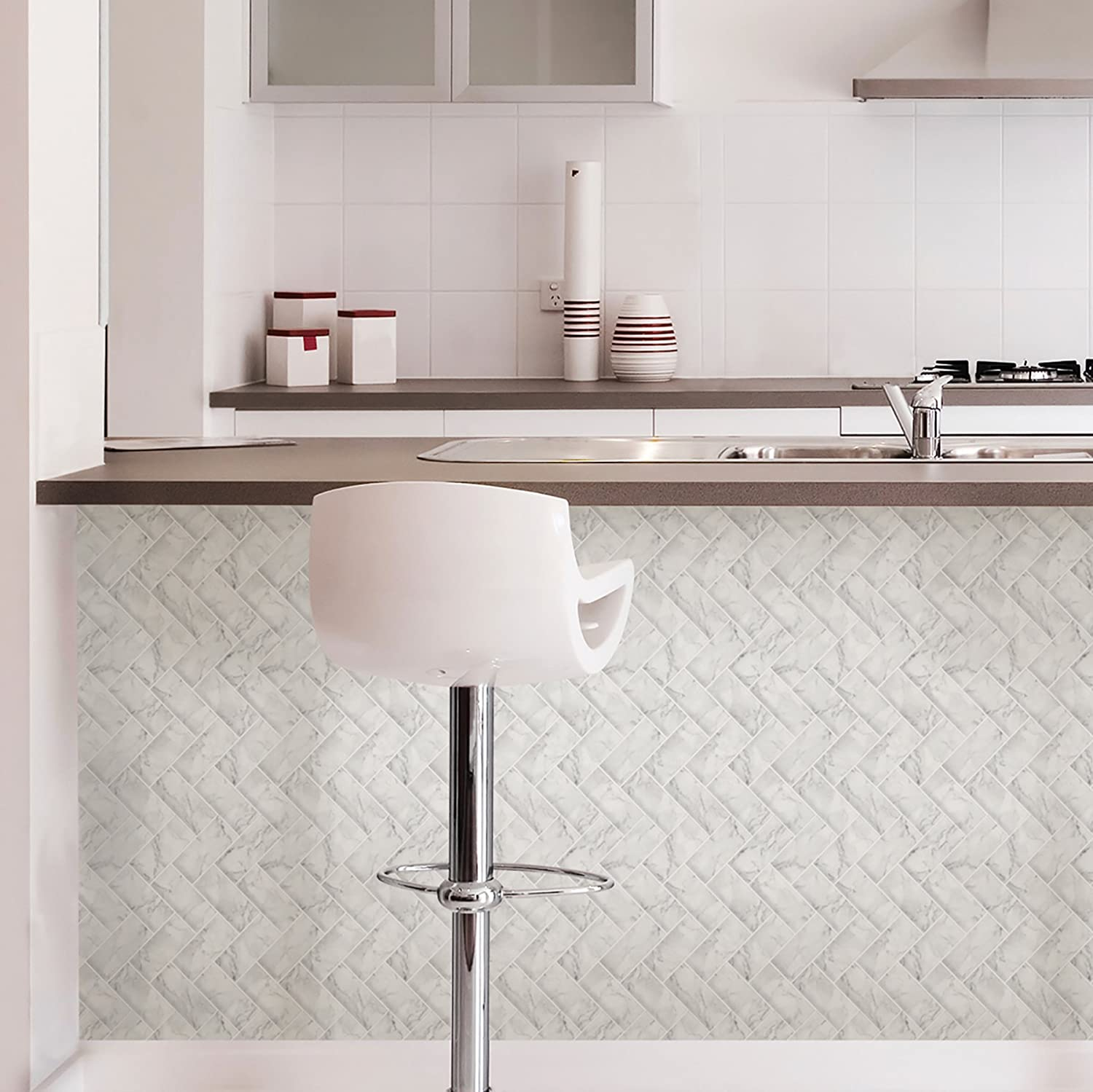 In Home NH2358 Herringbone Carrara Peel & Stick Backsplash Tiles ...