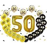 Ohighing 50th Birthday Decorations Luftballons Schwarz Gold Ballons 50 Folienballons