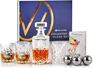 13 Piece Whiskey Decanter and Glass Set - Premium Lead Free Crystal Whiskey Decanter Set with Whiskey Glasses and Stainless Steel Ice Cubes - Classic Liquor Decanter Set for Whisky, Scotch or Bourbon