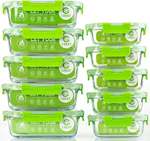Glass Containers for Food Storage with Lids, [10-Pack] Meal Prep Containers for Kitchen, Home Use, BPA Free