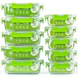C CREST Glass Containers for Food Storage with Lids, [10-Pack] Meal Prep Containers for Kitchen, Home Use, BPA Free