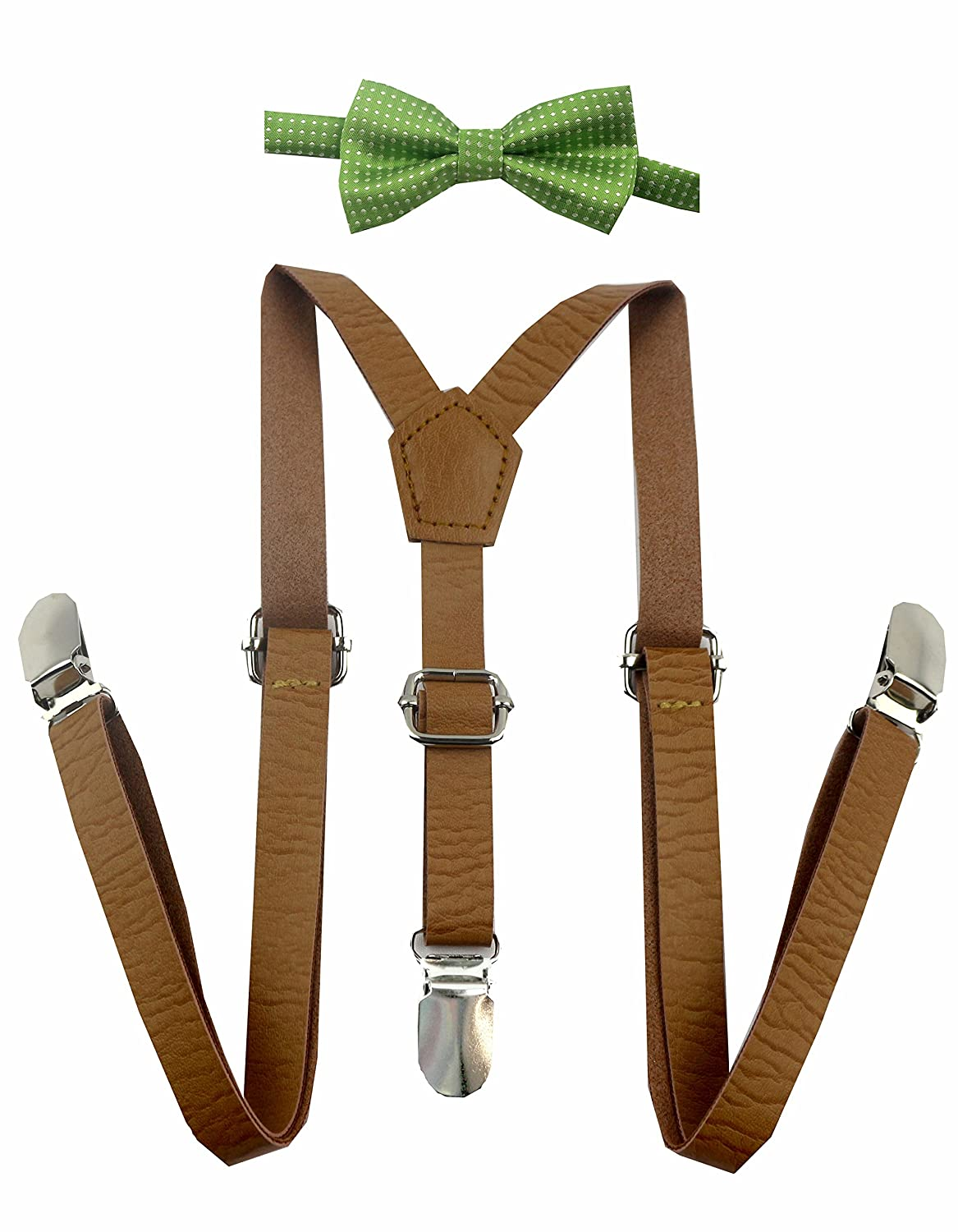 Skinny Leather Suspenders with Bow Tie for Baby, Toddler, Kids and Children Boy and Children (Light Green White Polka Dot Bow)