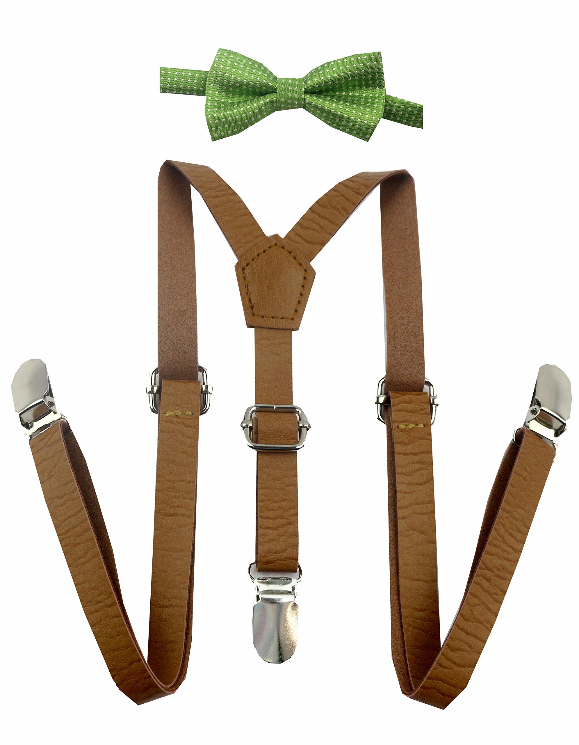 Skinny Leather Suspenders for Baby, Toddler, and Children (Light Green White Polka Dot Bow)