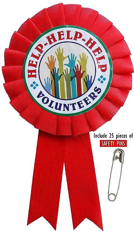 Buy LTM Help Volunteers Ribbon Badges Red (Pack of 25) Online at Low