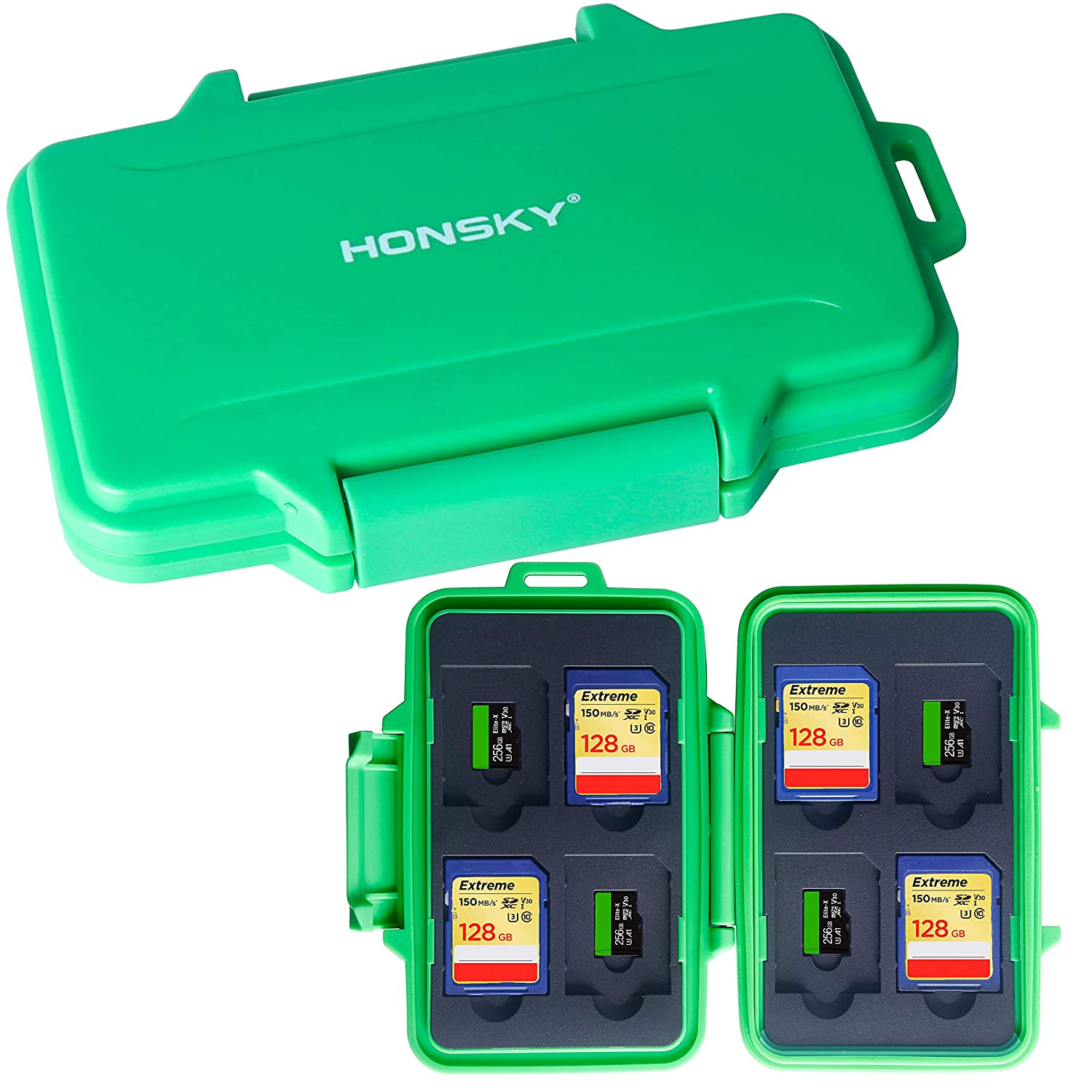 SD Card Holder Green Micro SD Cards SDHC SDXC Honsky Waterproof Memory Card Holder Case for SD Cards