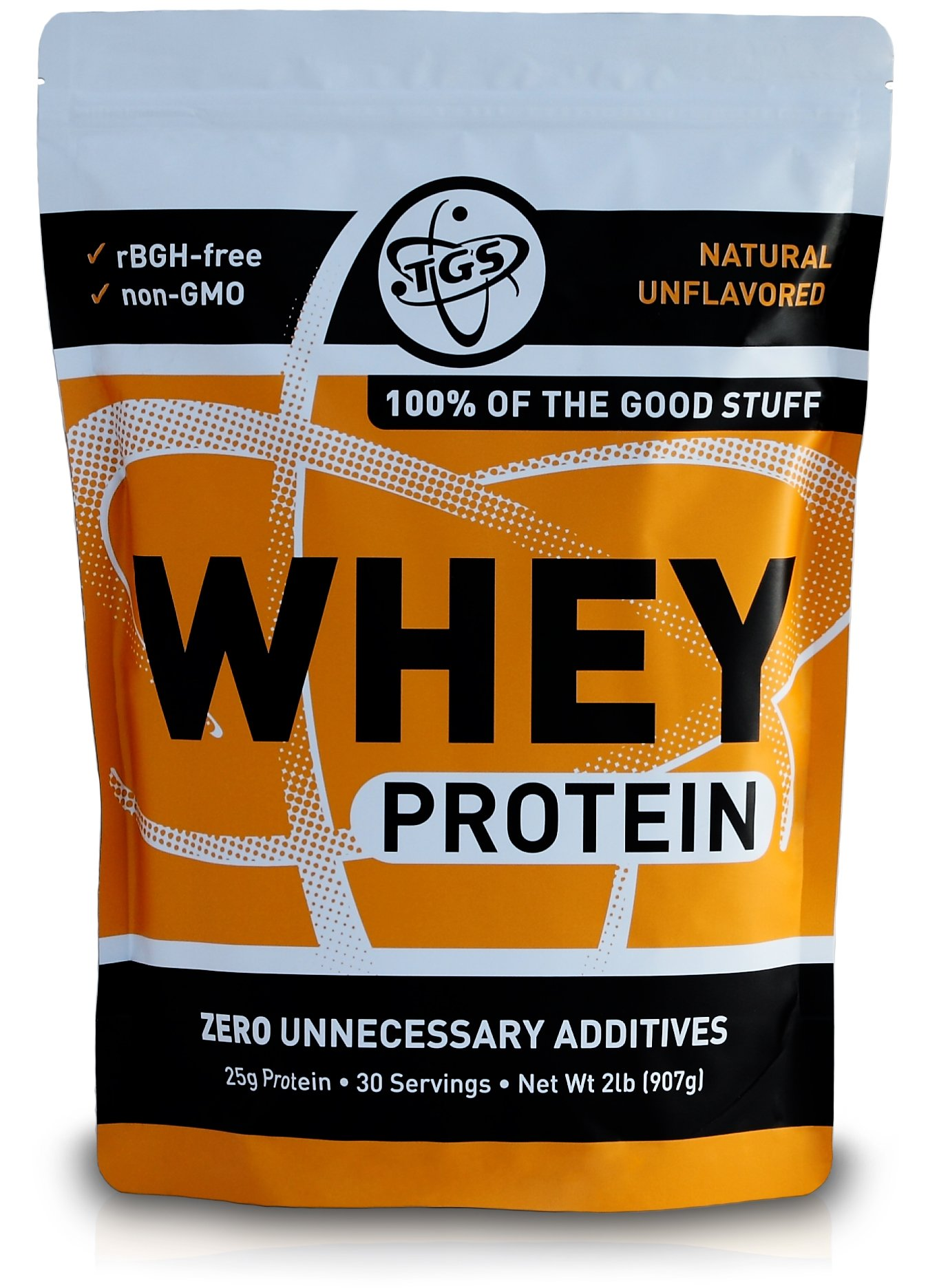 TGS All Natural 100% Whey Protein Powder - Unflavored, Undenatured, Unsweetened - Low Carb, Soy Free, Gluten Free, GMO Free (2 lb)