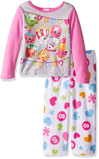 Amazon.com  Shopkins Girls  Little Girls  2-Piece Fleece Pajama Set ... 22fb37098