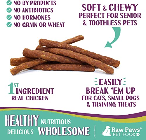 Raw Paws Pet Sausage Sticks for Dogs Cats – Made in USA – Soft Dog Treats Grain Free – No Corn, Wheat or Soy – All-Natural Dog Jerky Sticks – Chewy Jerky for Dogs Cats