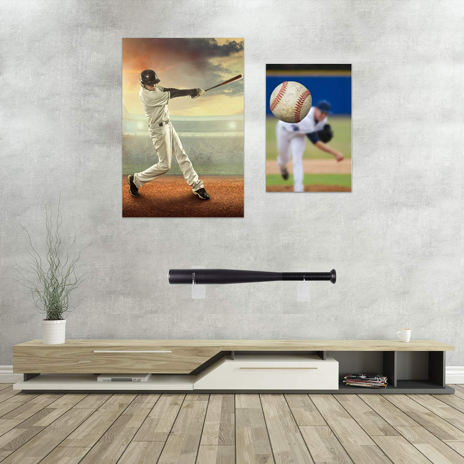 2 Pairs Clear Acrylic Bat Wall Mount Baseball Bat Display Holder with Screws and Non-Nail Double-Sided Tape for Storage