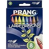 Prang Crayons, Large Size, Box of 8 Crayons, Tuck Box, Assorted Colors (00900)