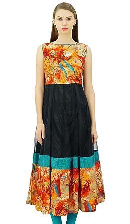 77287adc801f7c Bimba Women s Long Anarkali Kurti Dress With Back Key Hole Customized  Sleeveless Tunic at Amazon Women s Clothing store