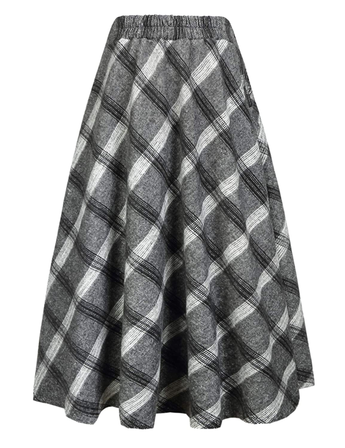 3eb32673ed9 IDEALSANXUN Womens High Elastic Waist Maxi Skirt A-line Plaid Winter Warm  Flare Long Skirt at Amazon Women s Clothing store