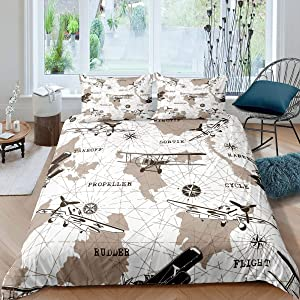 Airplane Bedding Set Queen Size Youth Aviation Aircraft Comforter Cover For Kids Boys Teens Young Man World Map Duvet Cover Compass Glider Quilt Cover Bedroom Decor With 2 Pillow Cases Brown White
