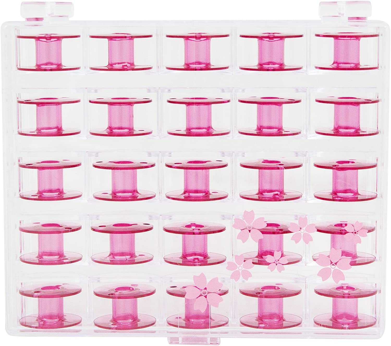 Janome Sewing Machine Cherry Blossom Pink Bobbins 25 ct