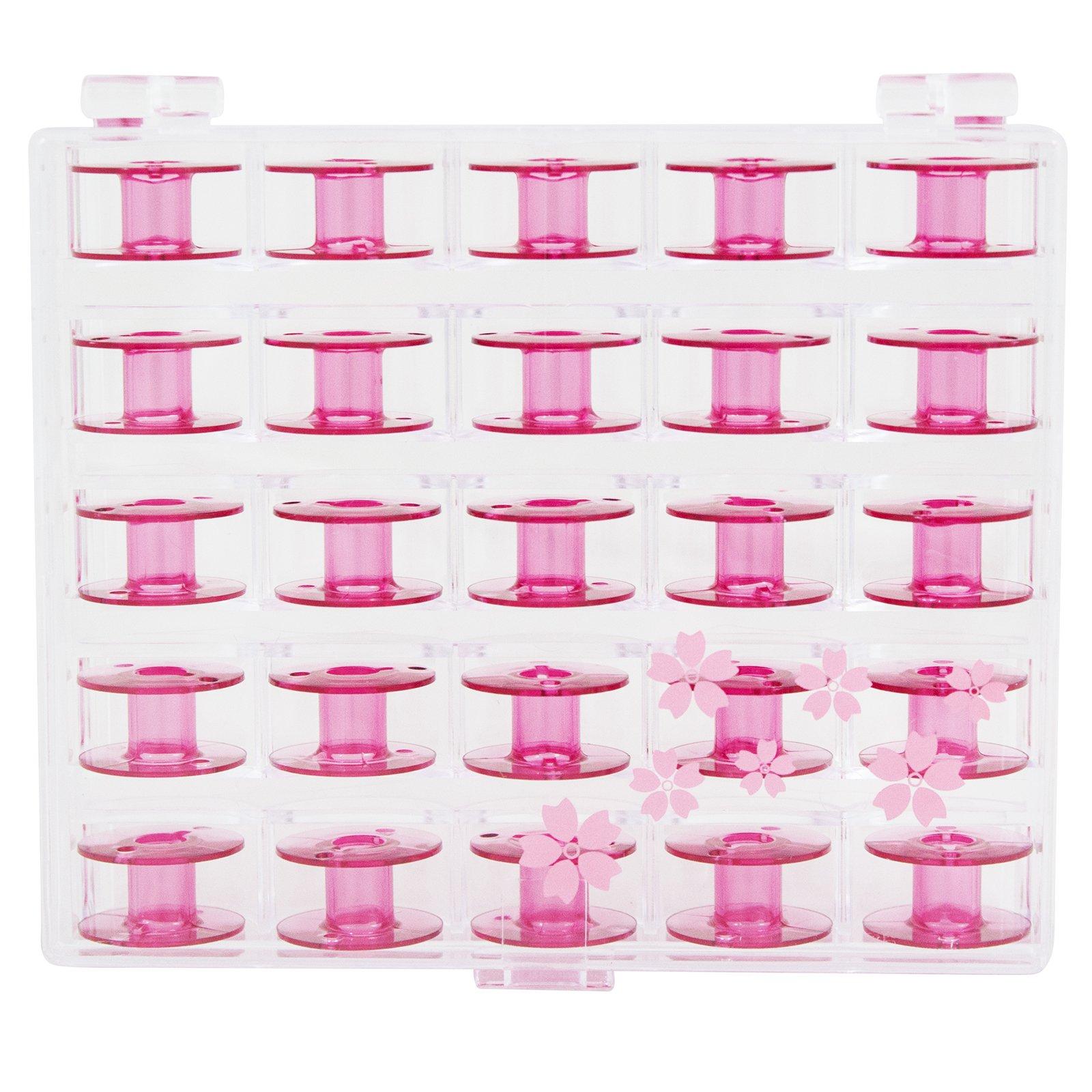 Janome Sewing Machine Cherry Blossom Pink Bobbins 25 ct by Janome