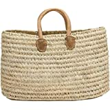 "Moroccan Straw Shopper Bag w/Brown Leather Handles - 21""Lx20""H - Tangiers"