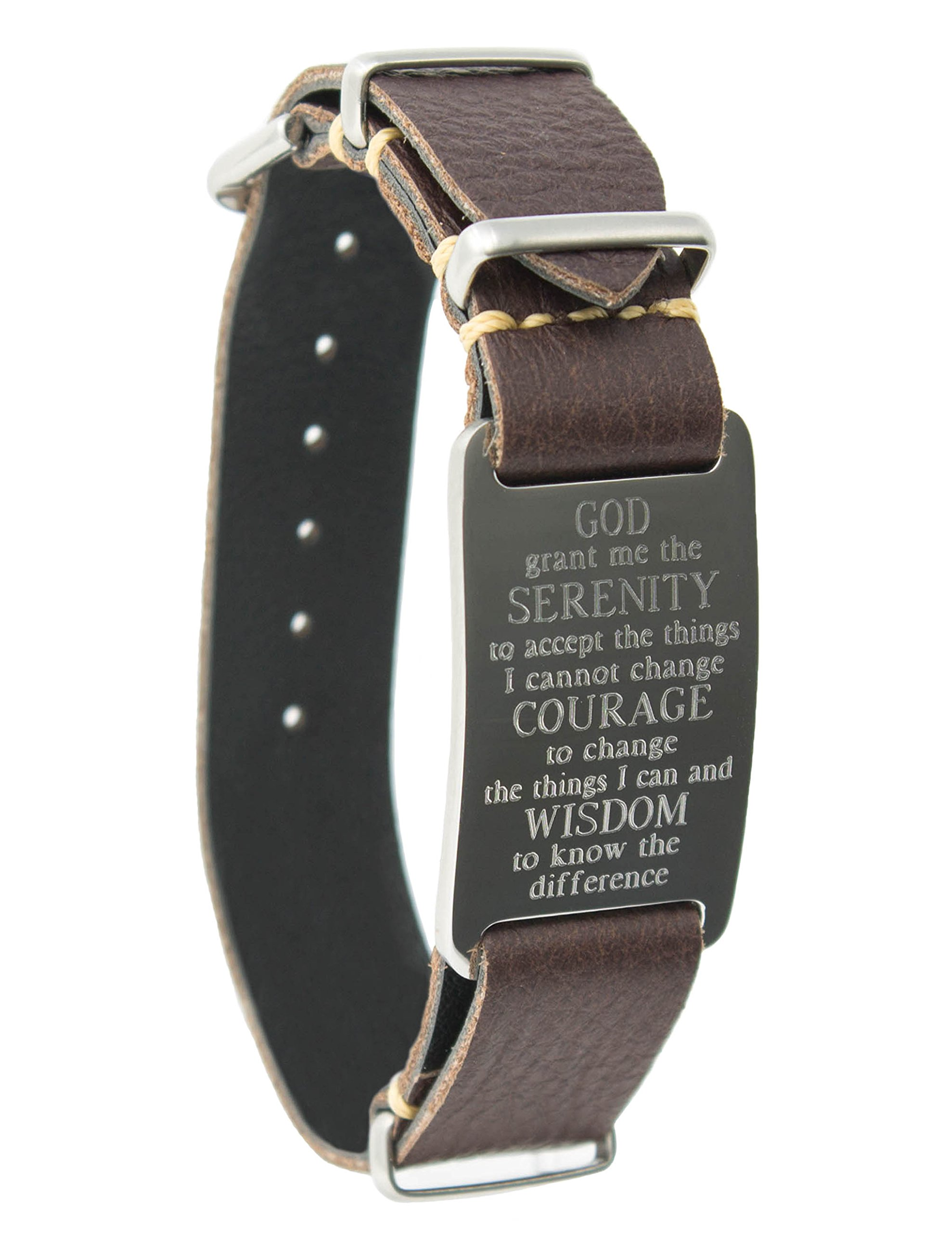 Leather Wrap Bracelet with Serenity Prayer ID Plate (Brown)