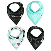 Baby Bandana Bib Set of 4, Super Absorbent Organic Drool & Teething Bibs for Boys & Girls by Matimati (Mint and Gray)