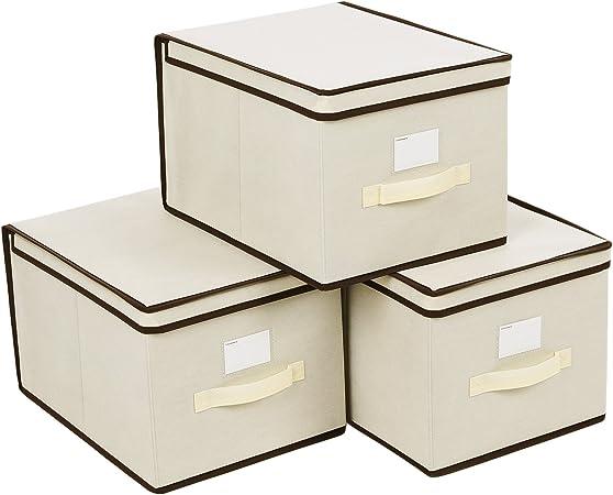 SONGMICS Set de 3 Cajas de Almacenaje, Cubos de Tela, Organizador Plegable con Tapa y Ventana de Etiqueta, 40 x 30 x ...