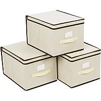 SONGMICS Lot de 3 boîtes de Rangement Pliable Housse avec Couvercle et poignée 40x30x25cm