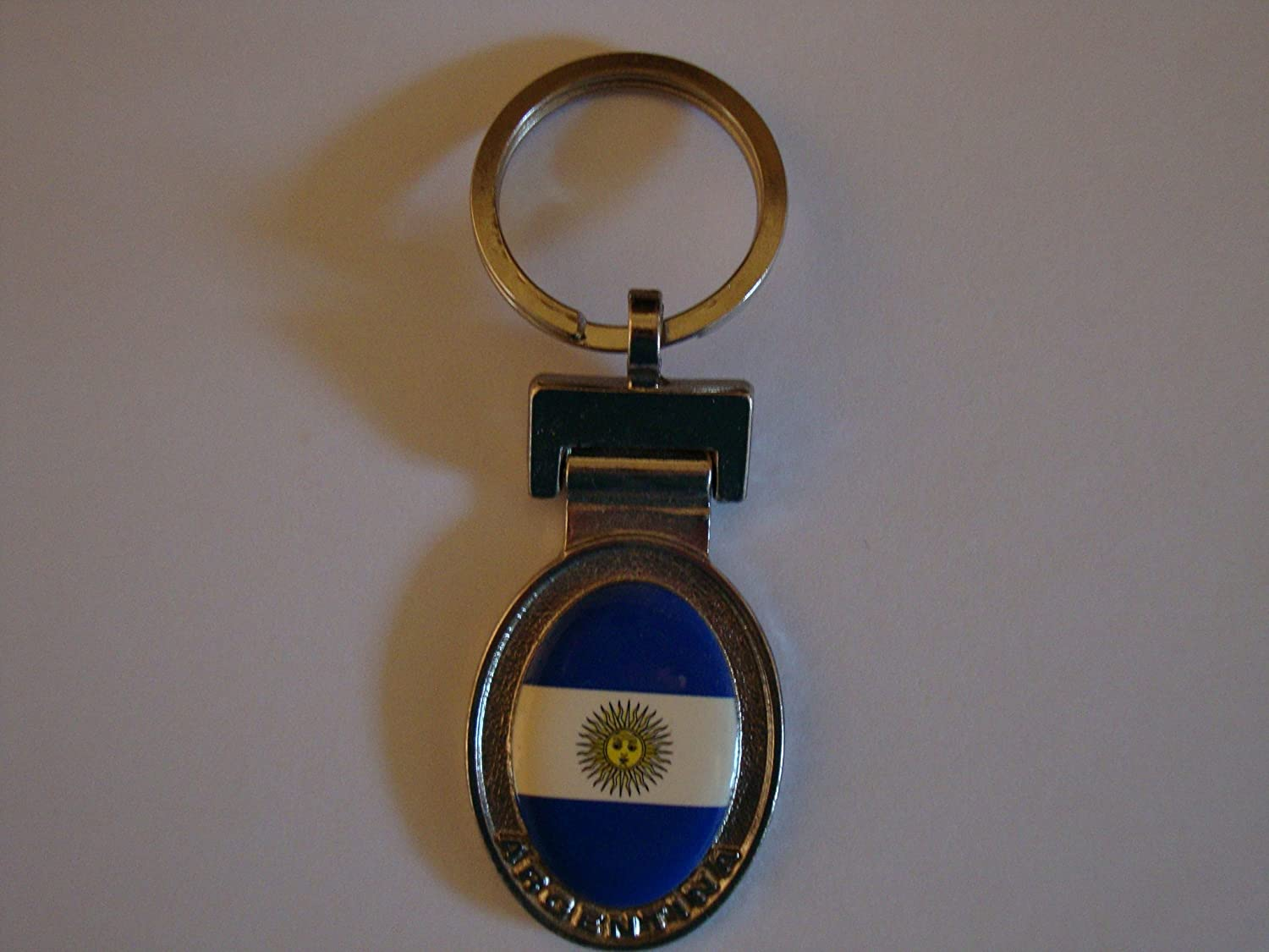 Amazon.com : Keychain ARGENTINA OVAL FLAG : Key Tags And ...
