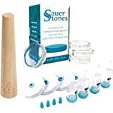 Fermentology Fermentation Airlocks, Weights and Smasher Combo - Sauer System Airlock Lids, Sauer Stones Glass Fermentation Weights and Sauer Stick Kraut Smasher - for Wide Mouth Mason Jars