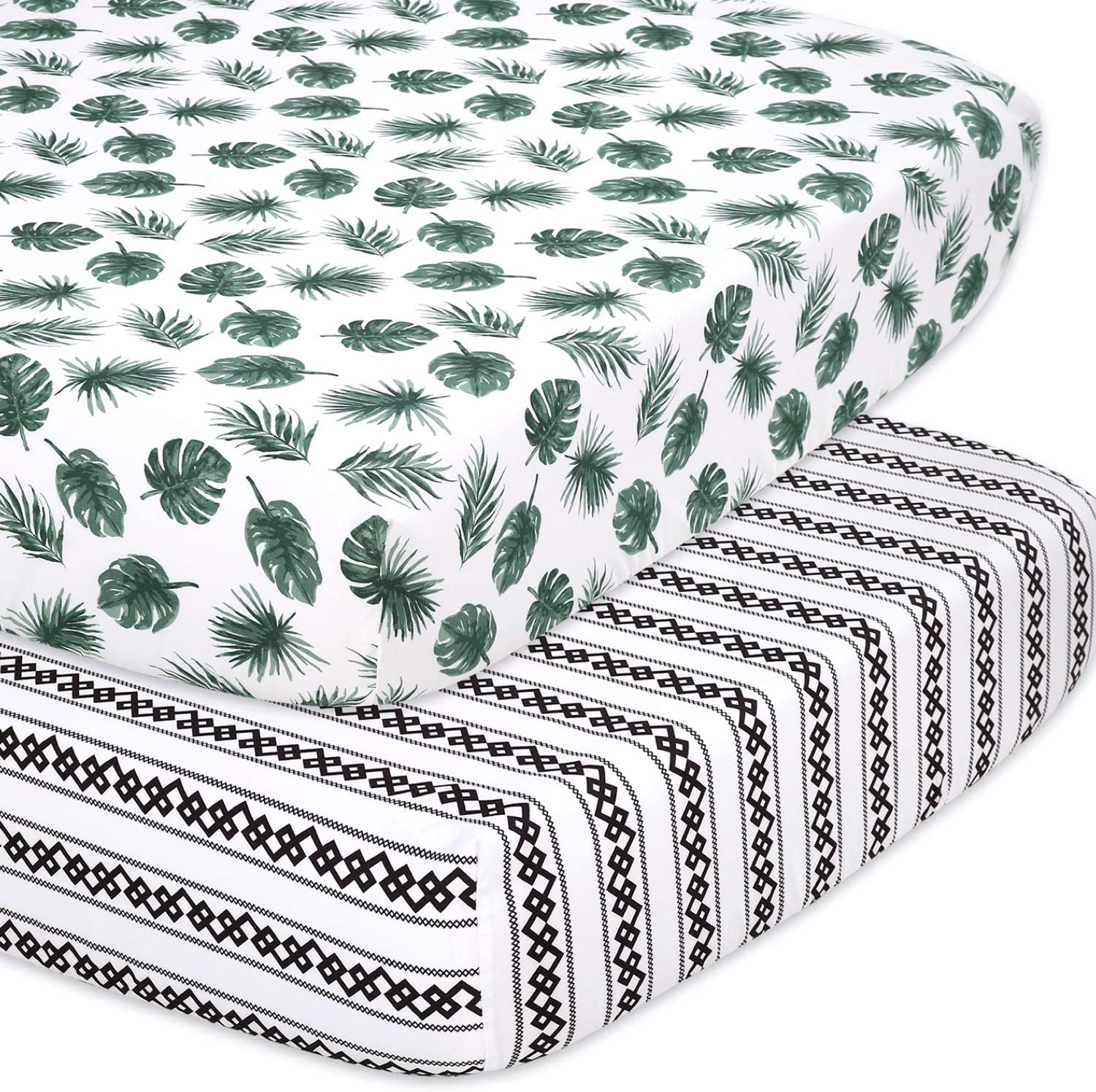 The Peanutshell Fitted Crib Sheet Set for Baby Boys or Girls - 2 Pack - Botanical Leaf & Stripe