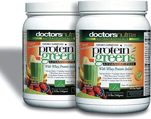 Pack of 2 PH50 Protein Greens Drink with Certified Organic Ingredients by Doctors Nutra Nutraceuticals, 1.19 Pounds 540 Grams 50 Superfoods, Digestive Enzymes, Natural Vanilla Flavor