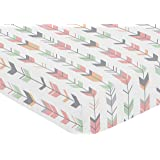 Fitted Crib Sheet for Grey, Coral and Mint Woodland Arrow Baby/Toddler Bedding Set Collection - Arrow Print