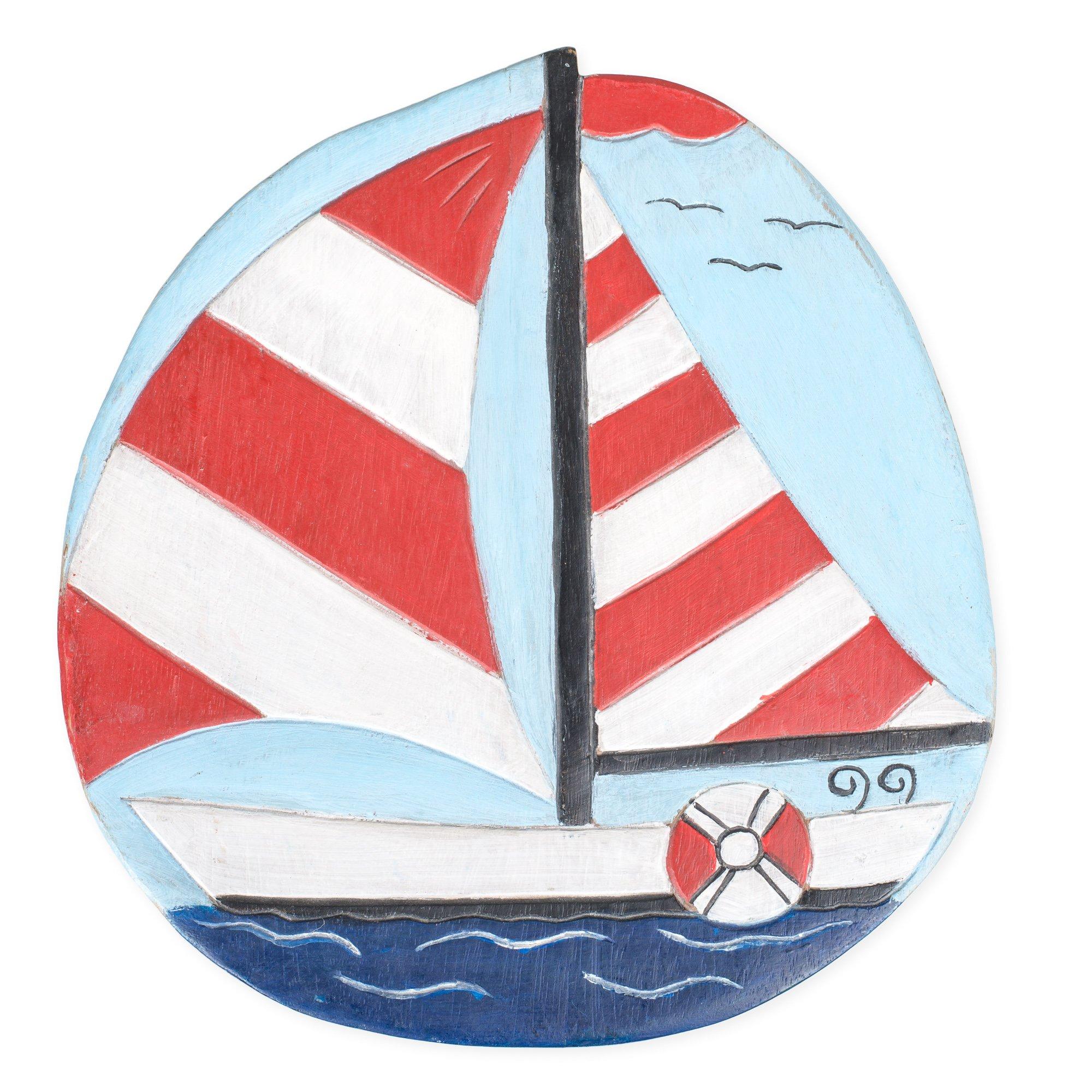 Sailboat Design Hand Carved Acacia Hardwood Decorative Short Stool by Sea Island (Image #4)