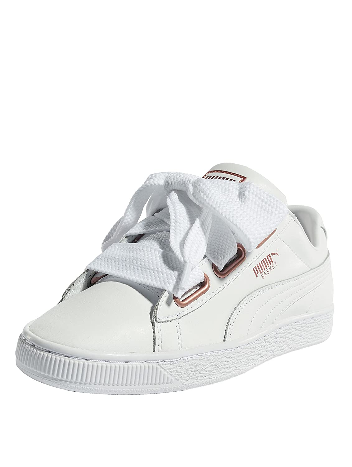 Puma Damen Basket Heart Leather WNs Sneaker  37.5 EU|Wei? (Puma White-rose Gold 01)